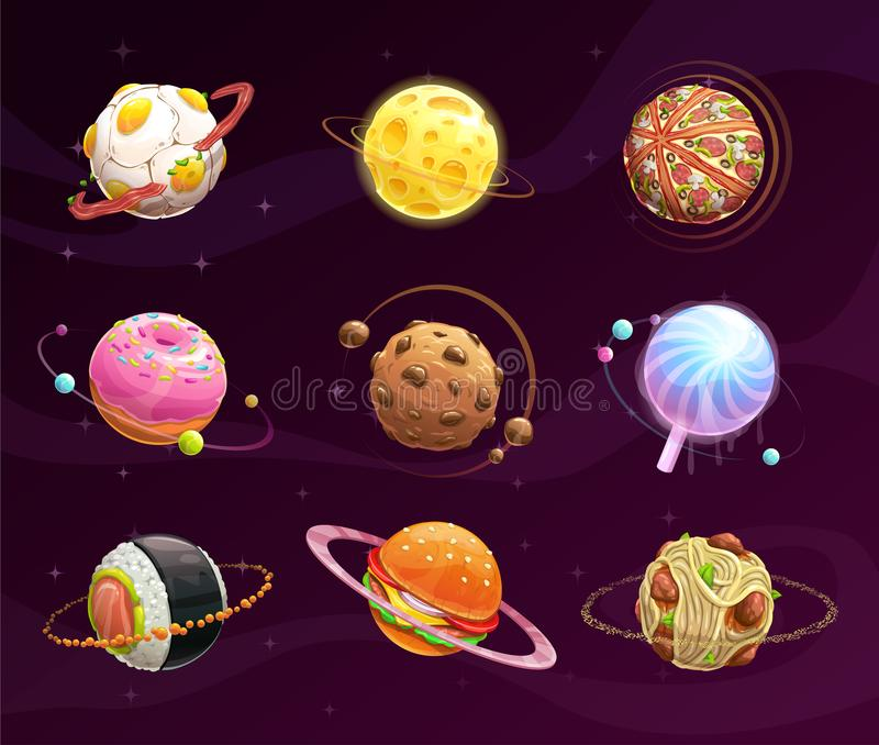 Food planet galaxy concept. royalty free illustration