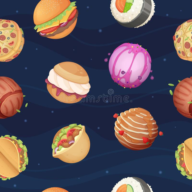 Food planets pattern. Fantastic space world with sweets fast food burger pizza sushi glossy stars sky vector seamless vector illustration