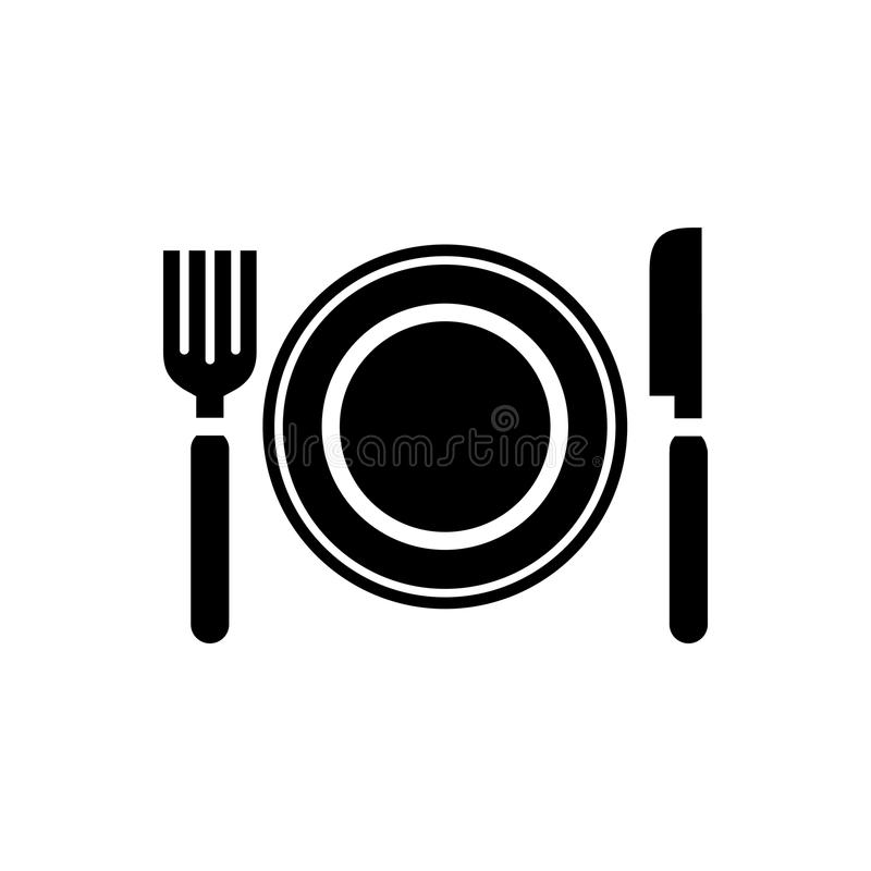 Food plate icon simple flat style vector illustration stock illustration