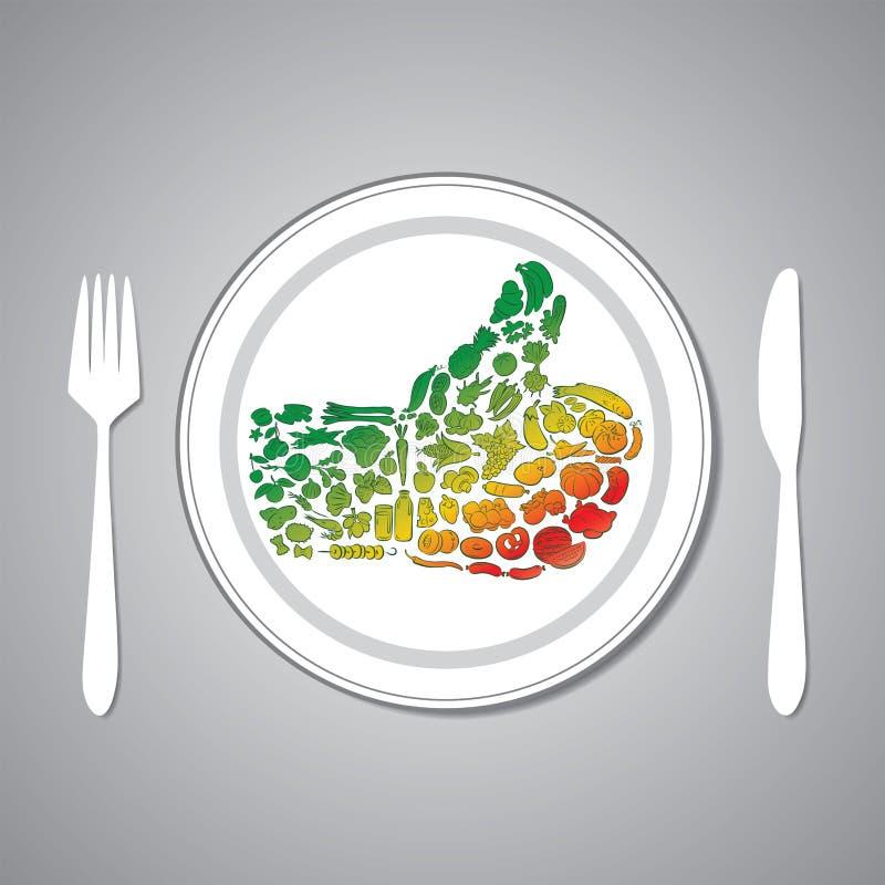 Food plate. Vector illustration of food thumbs up on plate stock illustration