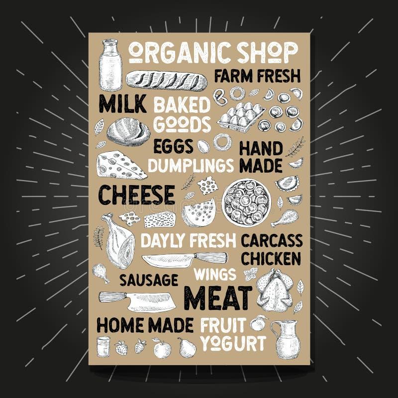Food poster drawing organic market farm fresh. Sketch Hand drawn vector. Food poster drawing organic market farm fresh. Sketch milk bottle mug poultry bakery royalty free illustration