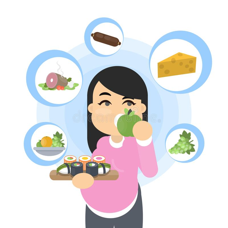 Food and pregnancy. stock illustration