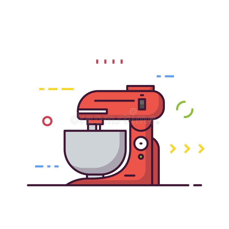 Food processor line style stock illustration