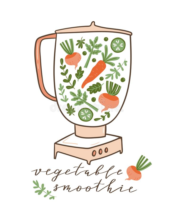 Food processor, mixer, blender and vegetables. Healthy poster with text - `Vegetable smoothie`. Vector illustration. Food processor, mixer, blender and stock illustration