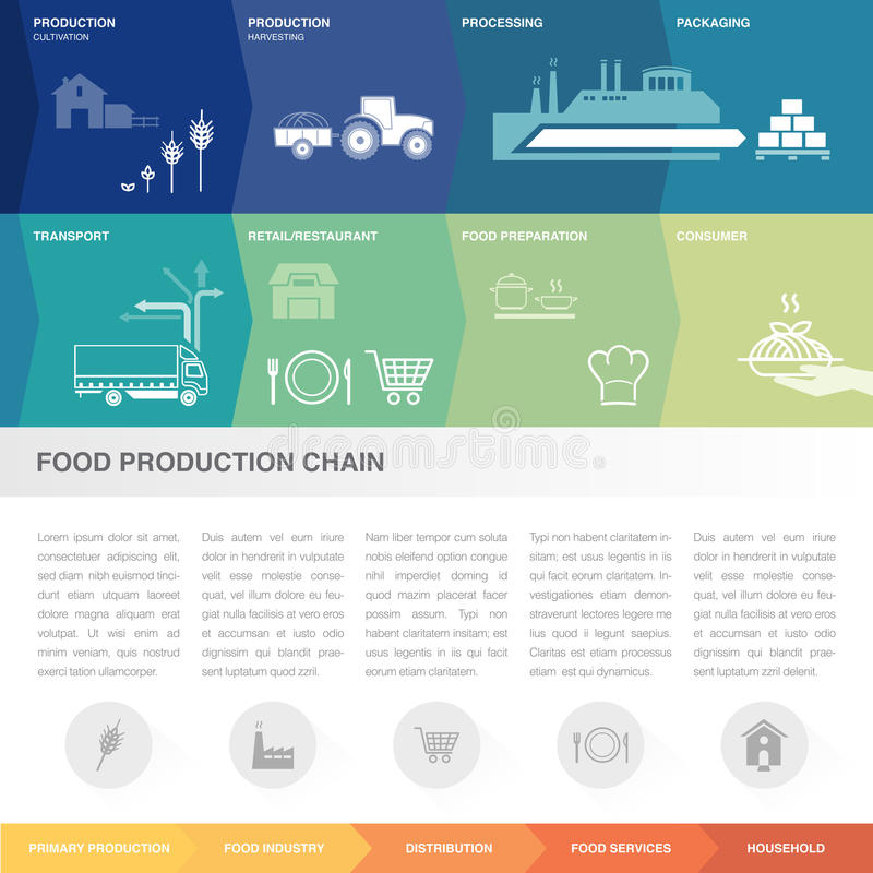Food production chain. Food production and supply chain infographic, boxes can be customized in different orders stock illustration