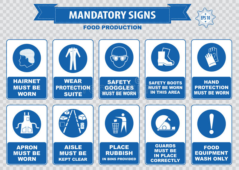 Food Production Mandatory Signs. (hairnet must be worn, goggles, gloves, apron, aisle clear, food equipment wash, foot bath, use forklift only, anti bacterial stock illustration