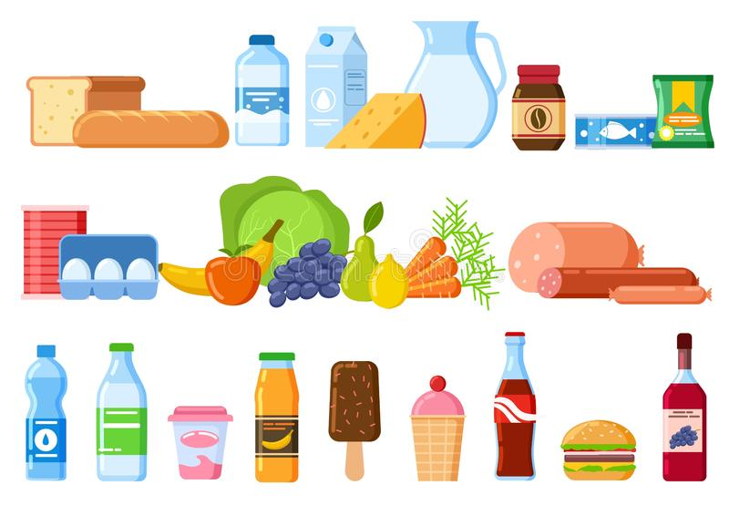 Food products. Bread and water bottles, juice and cheese. Eggs, fruit and sausages ice cream. Product and drinks flat vector illustration