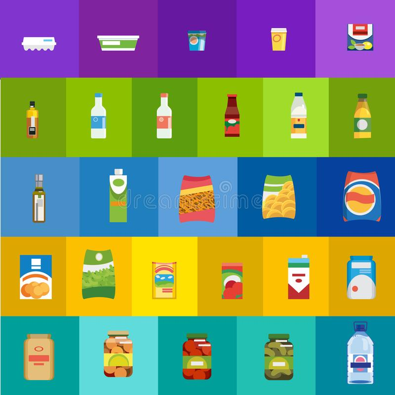 Food products and drinks flat vector icons set. Big Set of Different Food, Drinks and Dairy Products Flat Vector Icons. Groceries Collection in Colorful Bright stock illustration