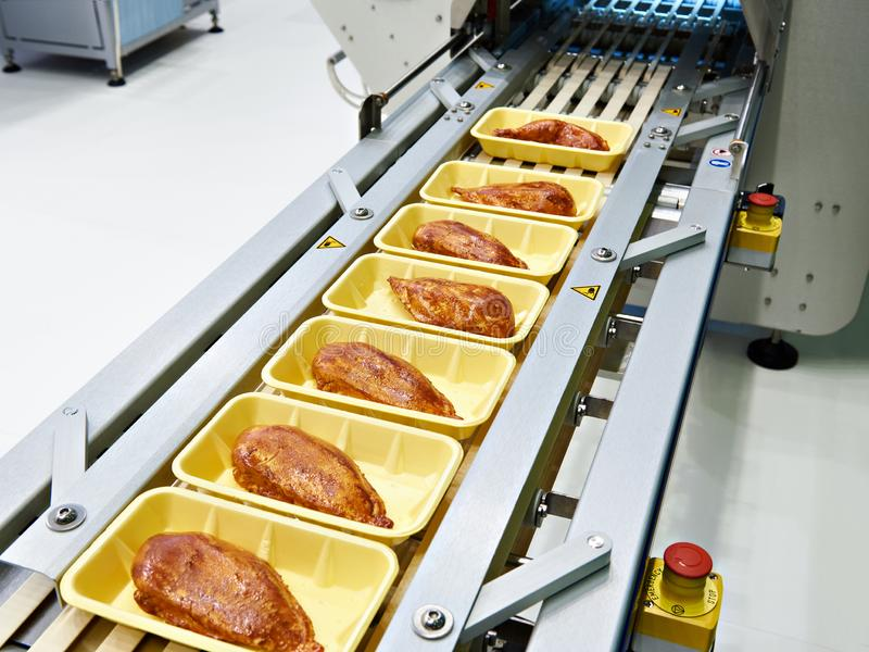 Food products meat chicken in plastic pack on conveyor stock photography