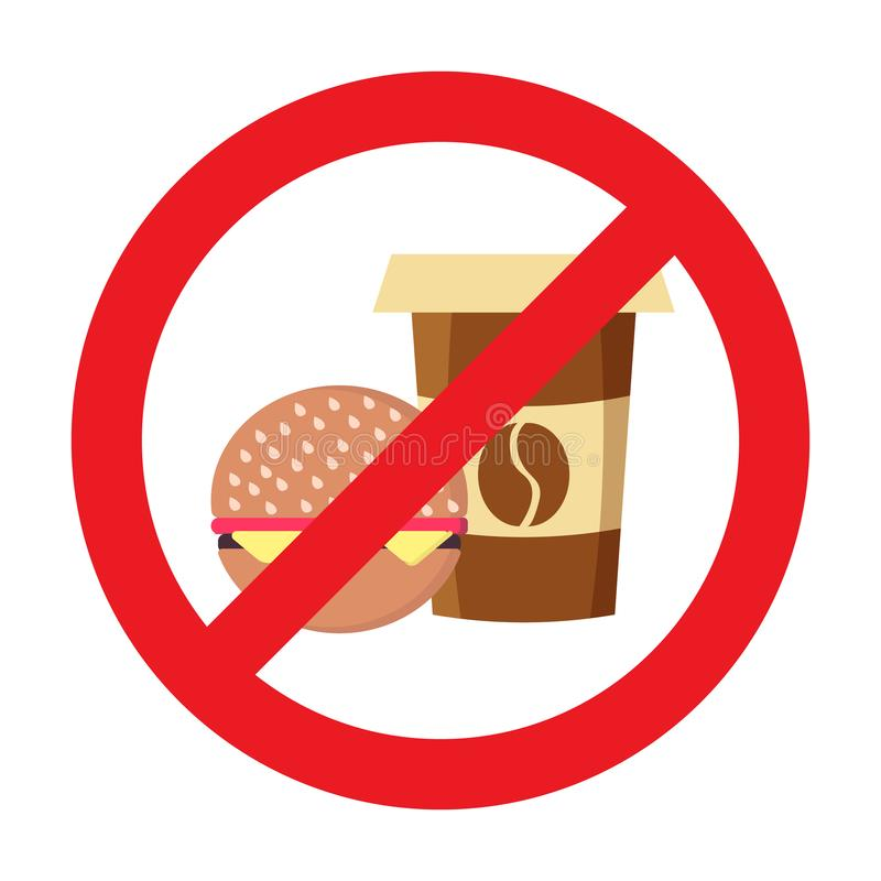 Food prohibition, no food or drink allowed sign. Do not eat and drink prohibition sign vector illustration. Flat style design. Colourful graphics. AI format royalty free illustration