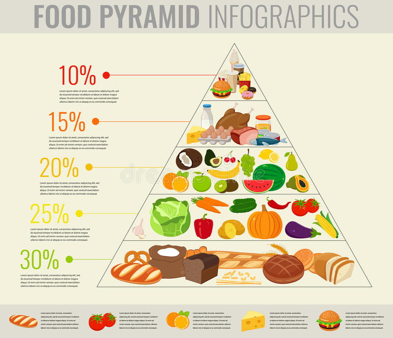 Food pyramid healthy eating infographic. Healthy lifestyle. Icons of products. Vector royalty free illustration