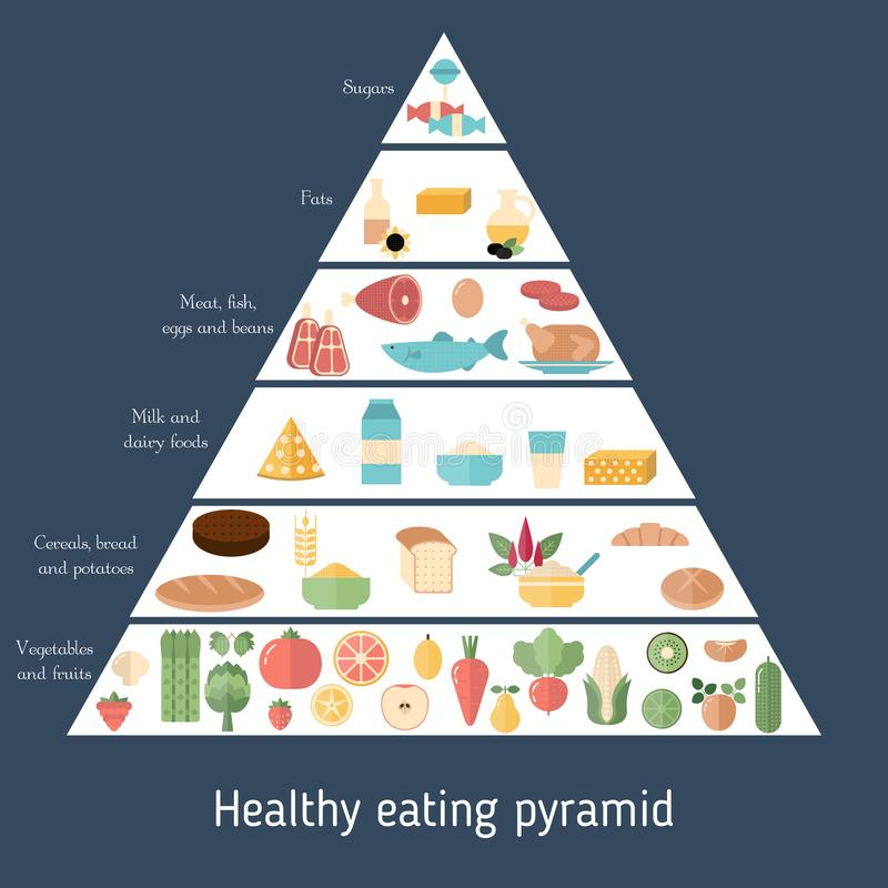 Food pyramid healthy eating infographic stock illustration
