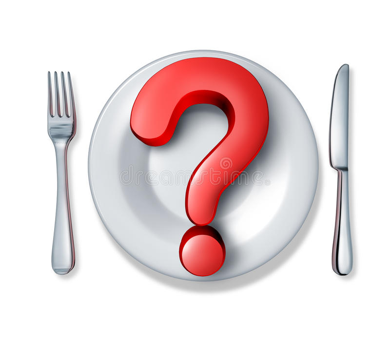 Food questions. And what do you eat at restaurants in relation to diets and nutrition and allergic reactions to ingredients in the meals we consume as a red vector illustration