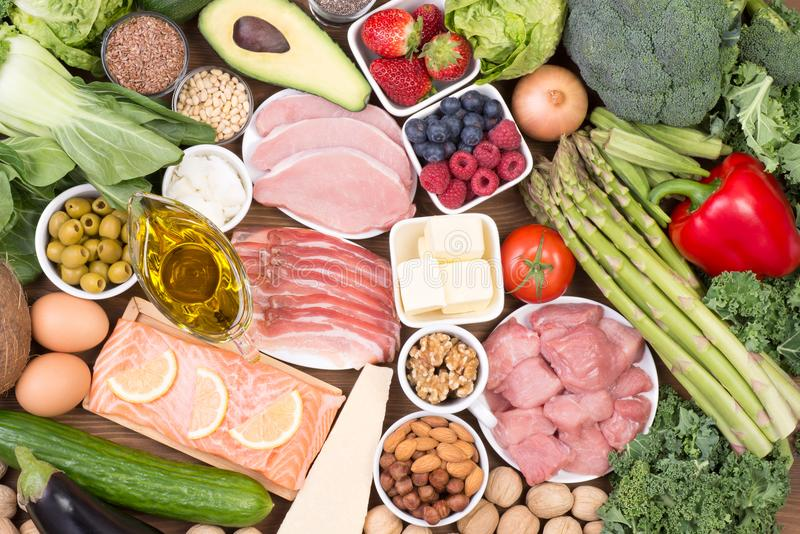 Low carb diet or ketogenic diet royalty free stock photos