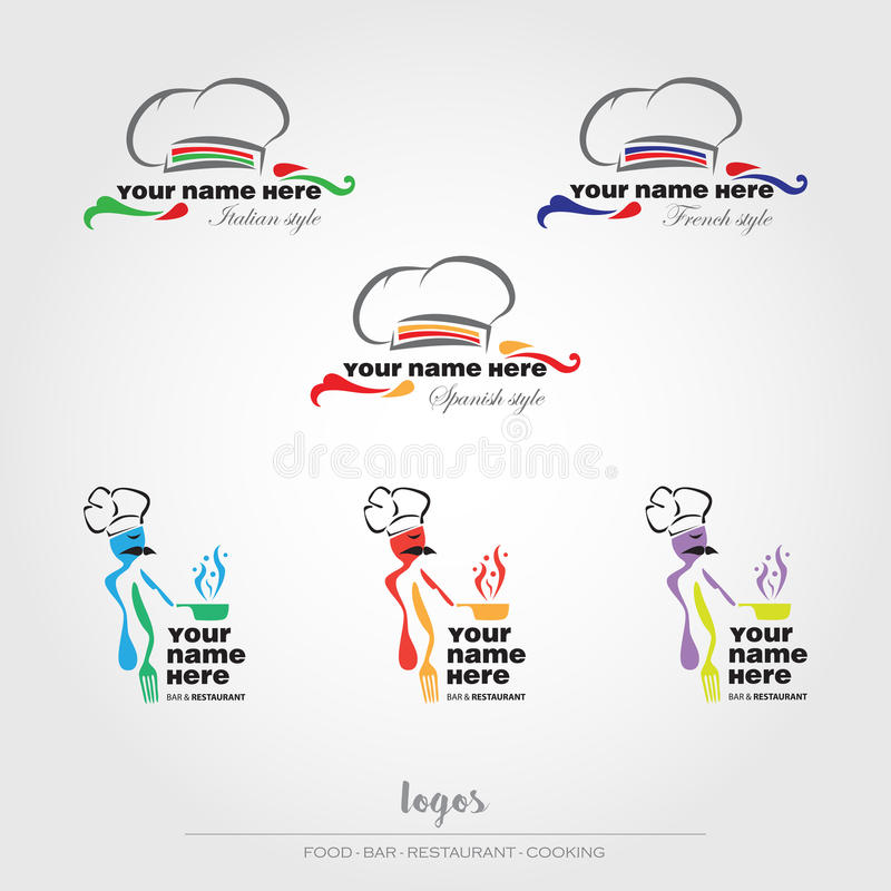 Food and restaurant logos. Food, restaurant, bar and cooking logos royalty free illustration