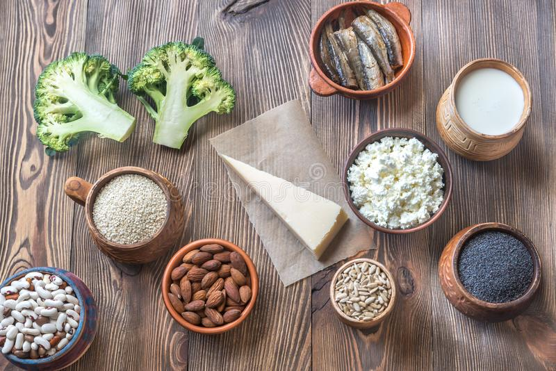 Food rich in calcium. On the wooden background: top view stock photography