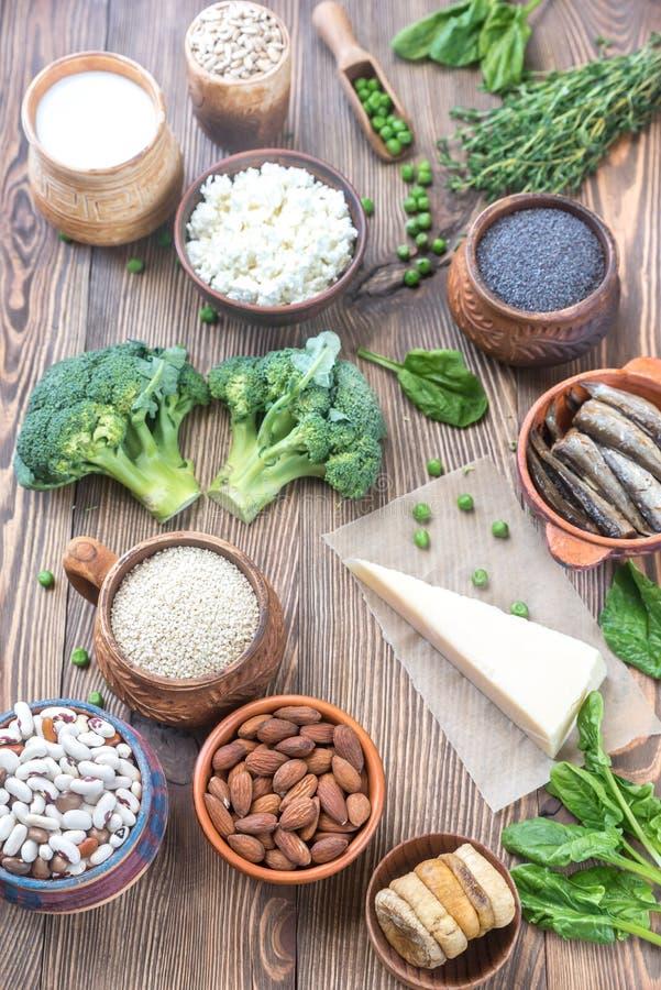 Food rich in calcium stock image