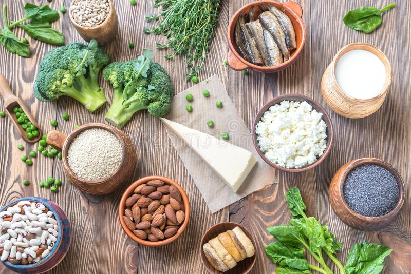 Food rich in calcium royalty free stock photos