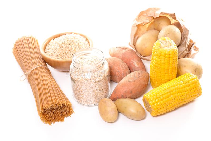 Food rich in carbohydrate. On white background stock photo