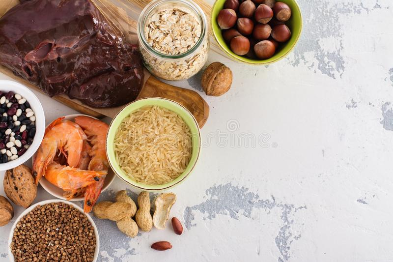 Food rich of copper mineral. Food rich of copper - Cu. Healthy diet for high hemoglobin, against varicose and anemia. Top view stock images
