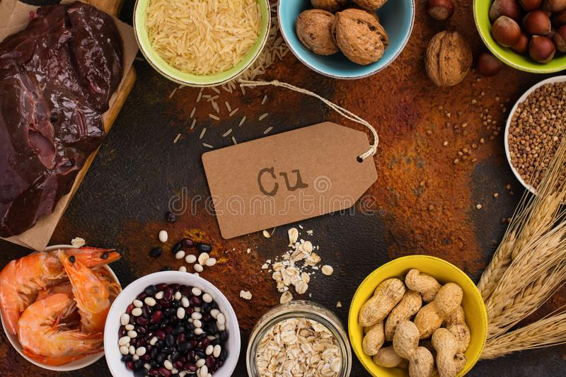 Food rich of copper mineral. Food rich of copper Cu. Healthy diet for high hemoglobin, against varicose and anemia. Top view stock photography