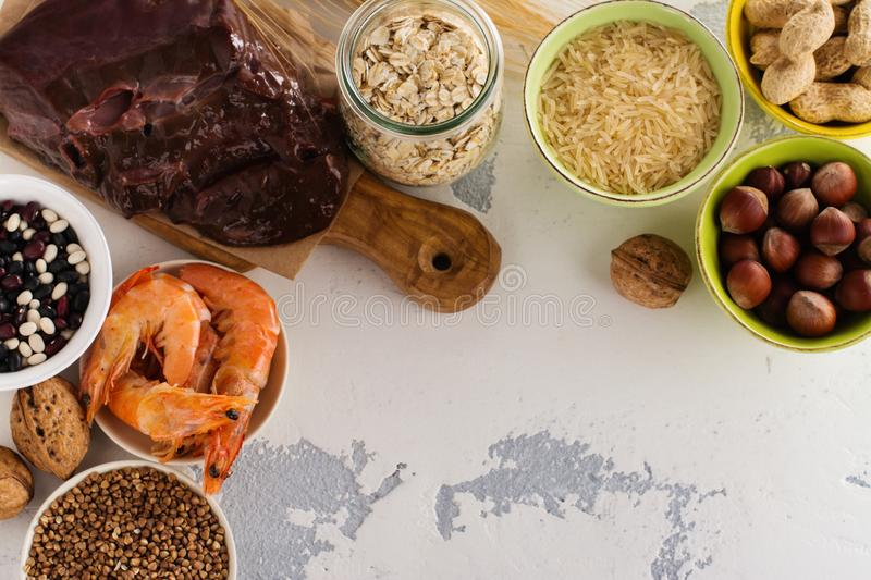 Food rich of copper mineral stock image