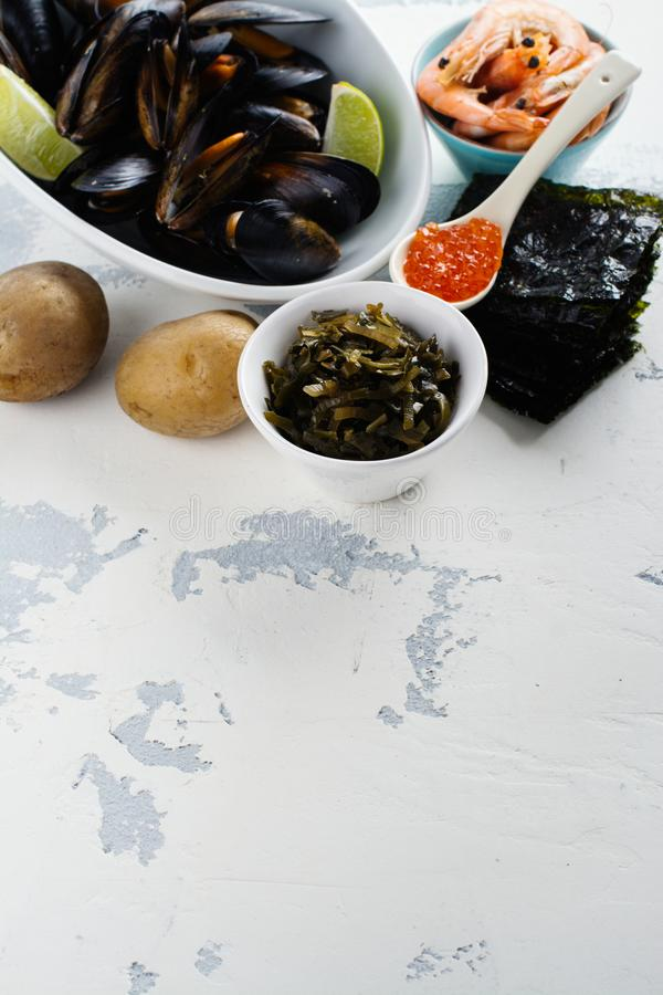 Food rich of iodine royalty free stock images