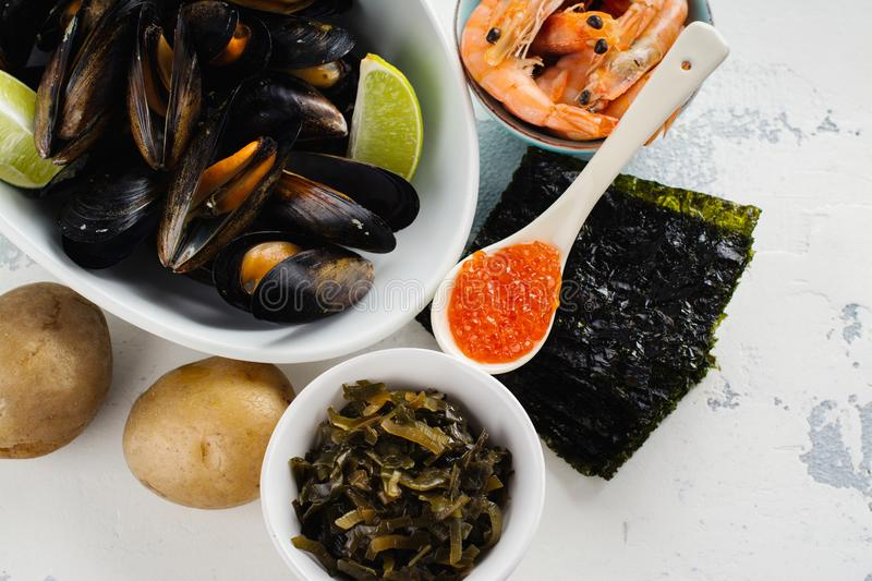 Food rich of iodine stock images