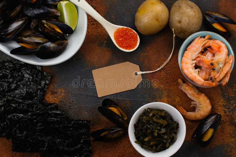 Food rich of iodine. Natural sources of iodine. Space for text royalty free stock image