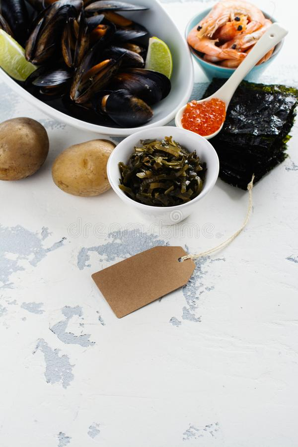 Food rich of iodine stock photos