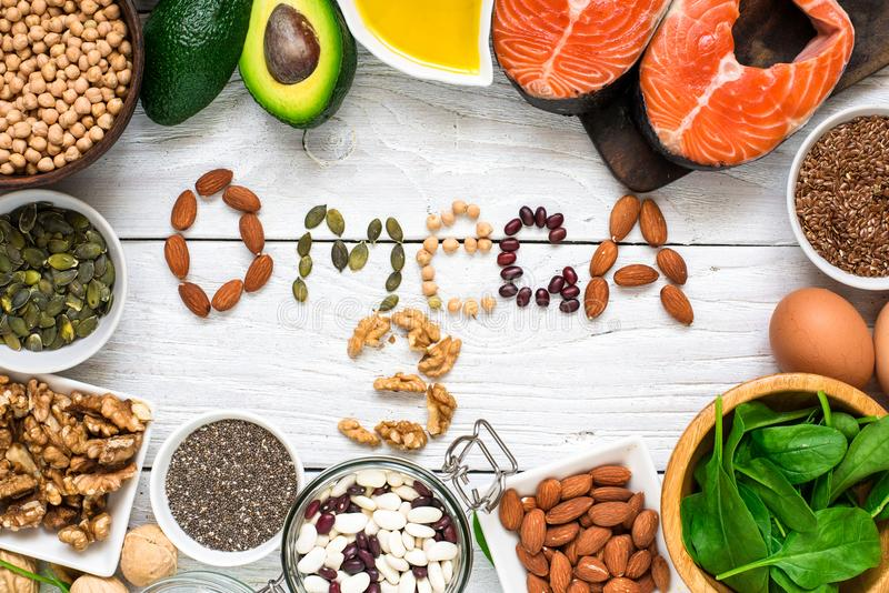 Food rich in omega 3 fatty acid and healthy animal and planty fats. Healthy diet eating concept. Top view stock image