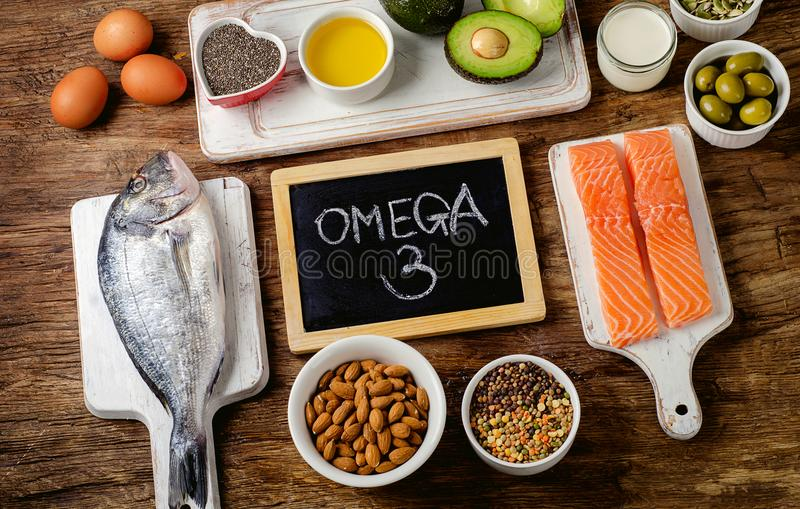 Food rich in omega 3 royalty free stock image