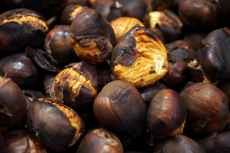 Food. Roasted chestnuts. stock photos