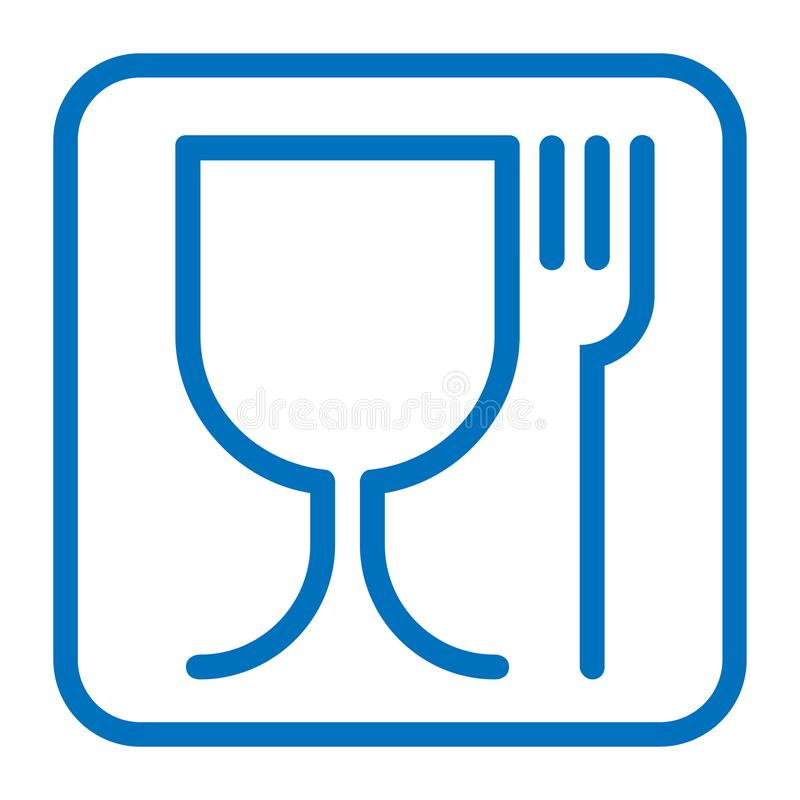 Food safe graphic symbol. Food safe sign. International emblem on the packaging. Food safe symbol used for marking food contact materials. Blue icon in square stock illustration