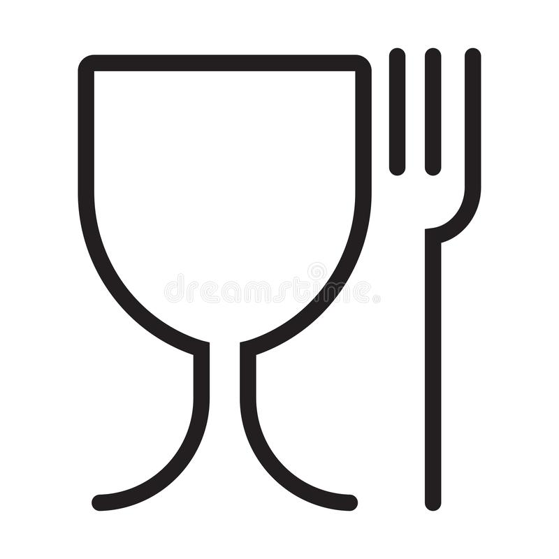 Safe food preservation sign. Glass and fork, black and white vector icon.food safe icon. Symbols for marking plastic dishes. Food safe icon. Symbols for marking stock illustration