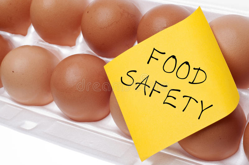 Food Safety Concept. Eggs Can Carry Salmonella Food Safety Concept Concept with Brown Egg and Yellow Note stock photos