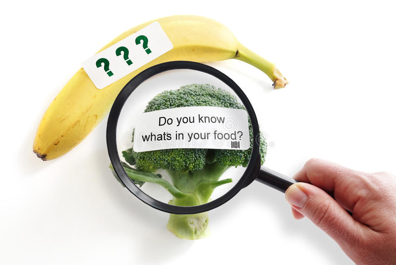 Food safety concept. Whats In Your Food label on broccoli with magnifying glass -- food safety or GMO concept royalty free stock image
