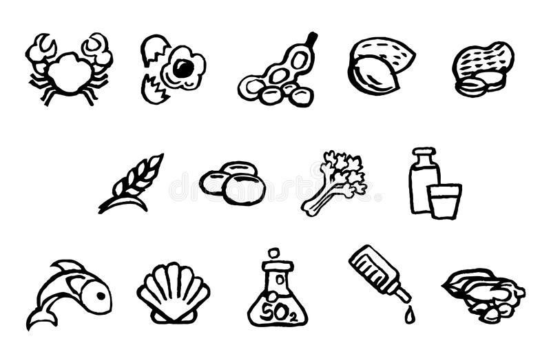 Food Safety Icons Watercolor Ink Brush Style. Set of food safety allergy icons including 14 allergies outlined by EU Food Information for Consumers Regulation vector illustration