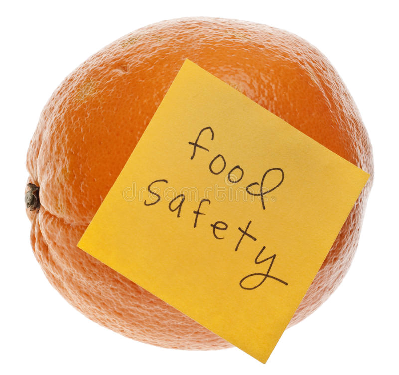 Food Safety Reminder. With Fresh Orange Isolated on White with a Clipping Path stock photo