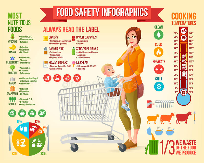 Food safety vector infographics and design elements. royalty free illustration