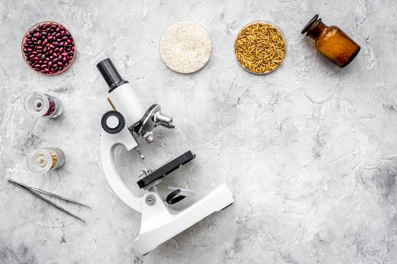 Food safety. Wheat, rice and red beans near microscope on grey background top view copy space. Food safety. Wheat, rice and red beans near microscope on grey royalty free stock photos