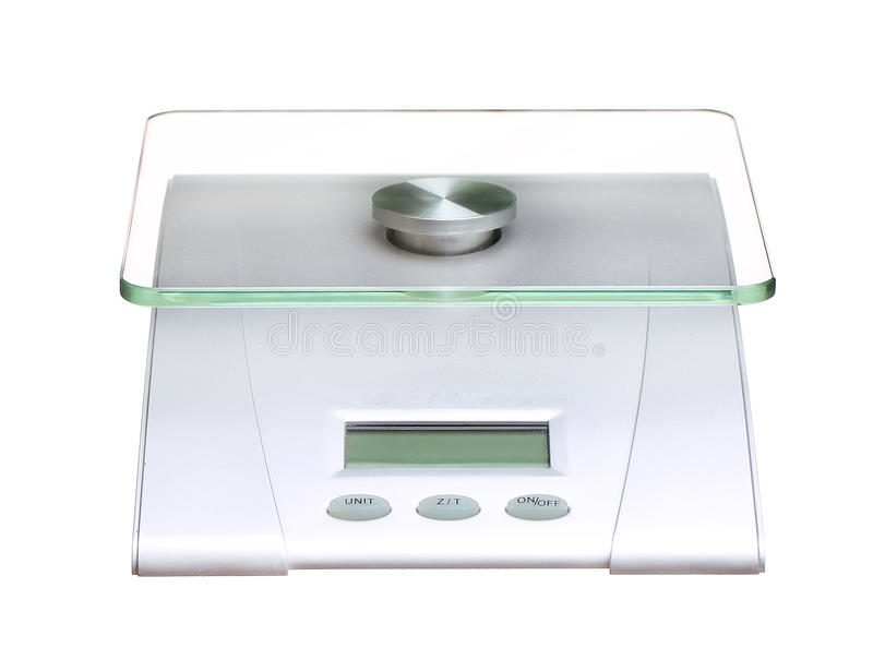 Food scale electronic and digital isolated on white. Background royalty free stock photo