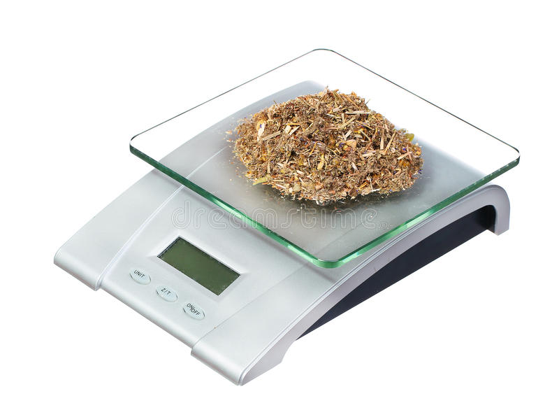Food scale with herbs electronic and digital isolated on white. Background stock photography