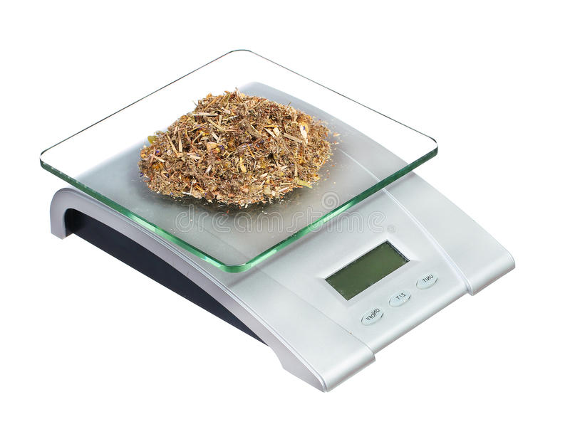 Food scale with herbs electronic and digital isolated. On white background stock images