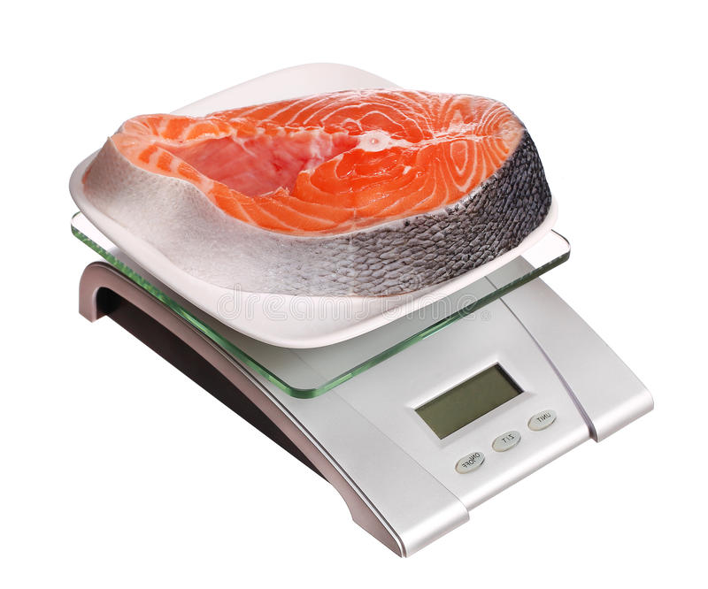 Food scale with salmon fish electronic and digital isolated. On white background stock photos