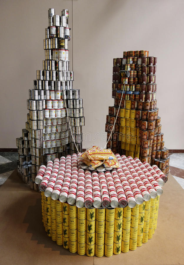 Food sculpture presented at 21st Annual NYC Canstruction competition in New York royalty free stock photos