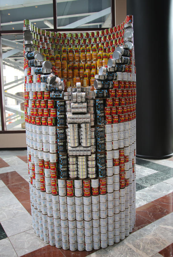 Food sculpture presented at 21st Annual NYC Canstruction competition in New York stock photos