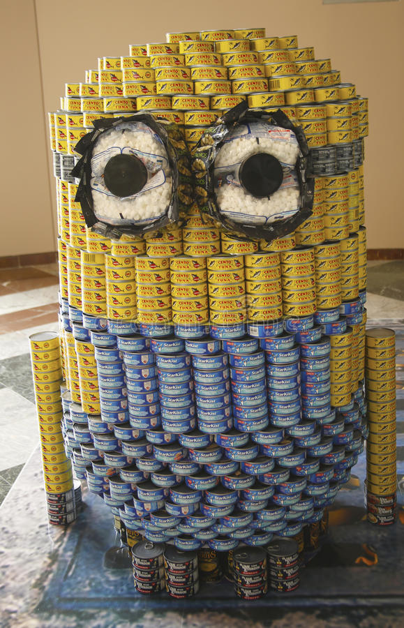 Food sculpture presented at 21st Annual NYC Canstruction competition in New York royalty free stock image