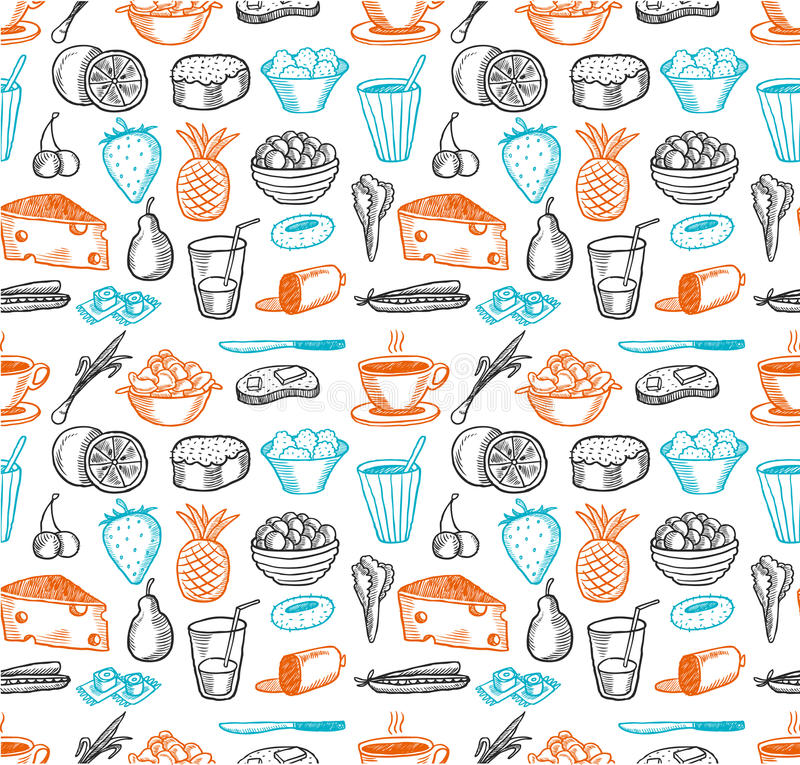 Food seamless doodles pattern vector illustration