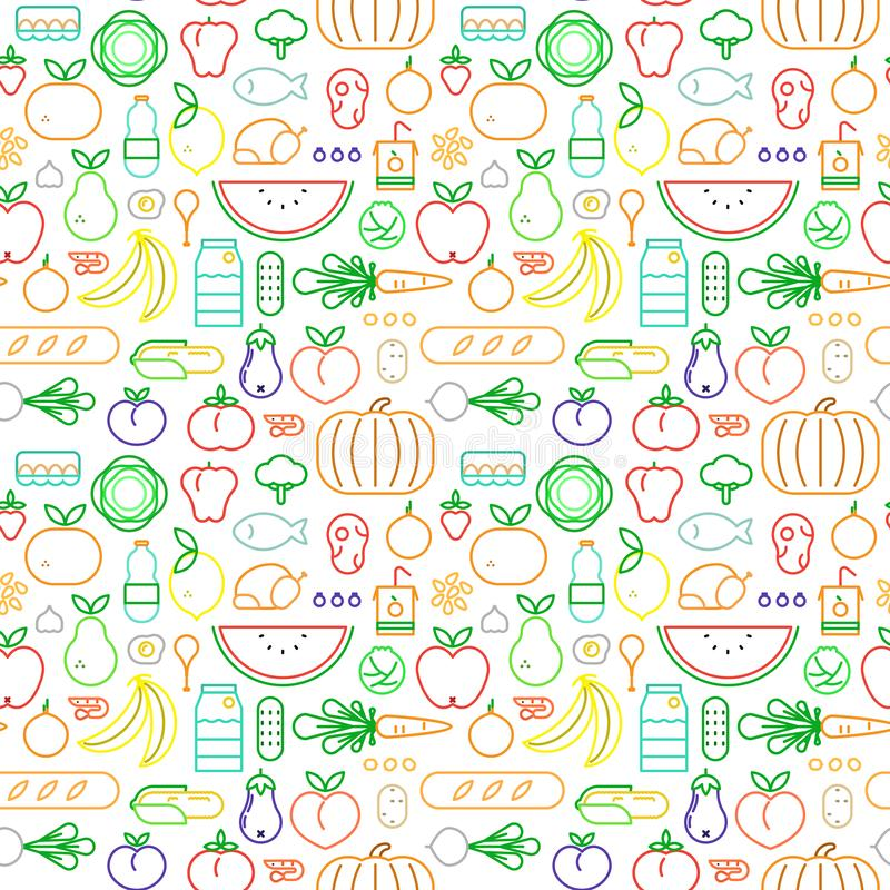 Food seamless pattern of modern outline icons vector illustration